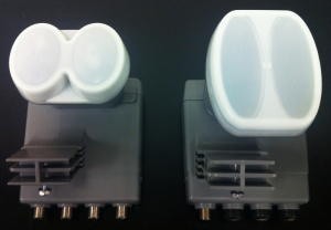 A quad LNBF (left) and xKu LNBF (right).
